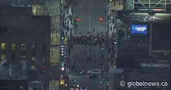 Wet'suwet'en solidarity demonstrators block Yonge and Dundas during rush hour