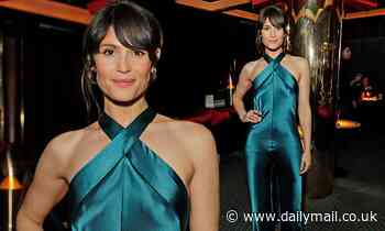 Gemma Arterton showcases her sophisticated style in a teal satin jumpsuit at Poetry Gala after-party - Daily Mail