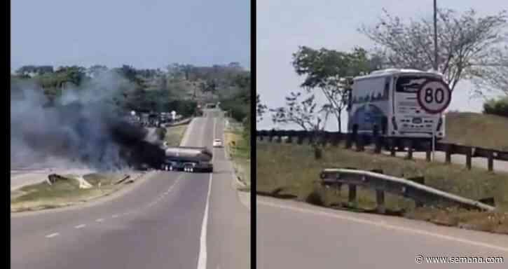 ELN habría incinerado camión y abaleado un bus en vía de Pelaya, Cesar - Semana.com
