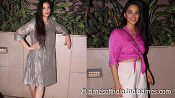 Tabu looks refreshing in a dress, Kiara Advani looks hot in pink crop top teamed with white trousers as they spotted together at a dinner party