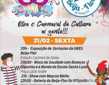 Em Casimiro de Abreu, programação de carnaval terá show da Escola de Samba Beija-Flor - Clique Diário