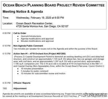 OB Project Review Committee: Demolition of Old House, 3 New Units to Be Built at 4719 Orchard – OB Planners – Wed. Feb.19 - OB Rag