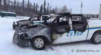 RCMP investigate after 2 commercial inspection vehicles torched in Fort Nelson - Global News