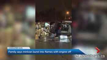Fire erupts in parked Chrysler hybrid minivan