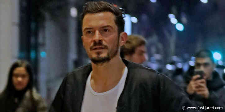 Orlando Bloom & Dog Mighty Return To Their Hotel in Milan
