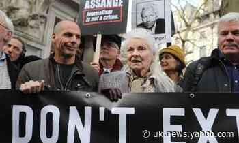 Protesters gather on eve of Julian Assange extradition hearing