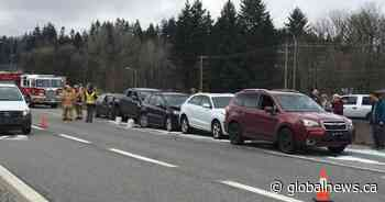 7-car pileup stalls traffic on Highway 1 in North Vancouver
