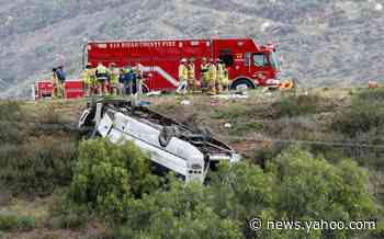 3 dead, 18 injured after charter bus rolls off highway in Southern California