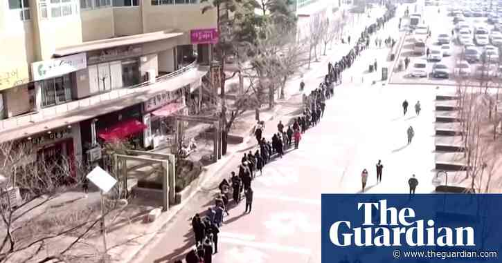 Aerial footage shows huge queues for masks in South Korea amid coronavirus panic – video