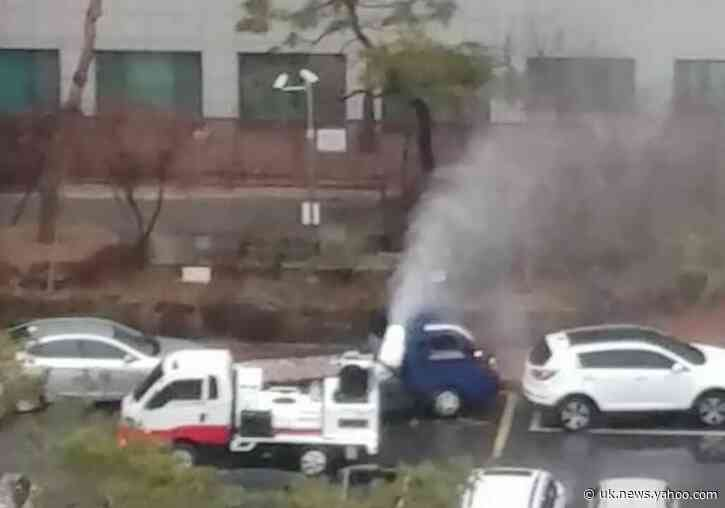 Disinfectant Sprayed Outside Hospital as Coronavirus Cases Soar in South Korea