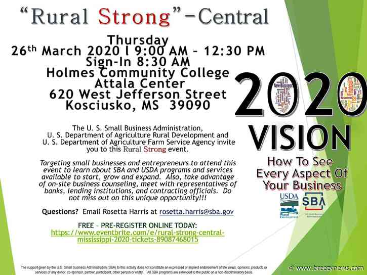 "USDA and SBA bringing ""Rural Strong"" event to Kosciusko"