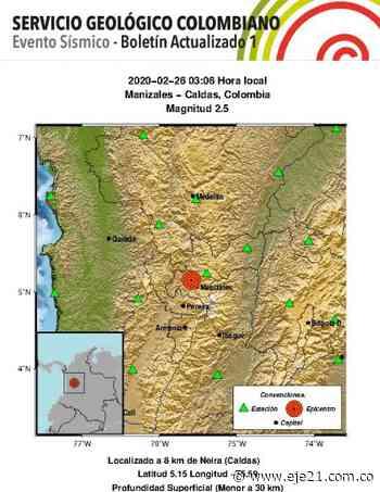 Temblor de esta madrugada tuvo epicentro en Neira - Eje21