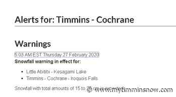 SNOWFALL WARNING: Timmins-Cochrane-Iroquois Falls - My Timmins Now