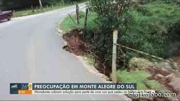 Chuva derruba parte de rua em Monte Alegre do Sul - G1