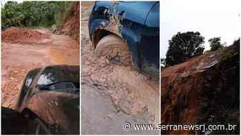 Solo muito encharcado causa deslizamento na zona rural de Sumidouro - Serra News