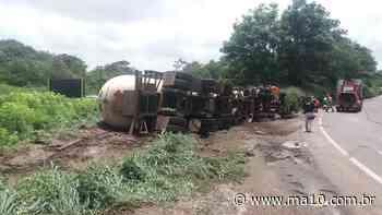 Carreta carregada de gás tomba no acesso da BR-135 no Itaqui - ma10.com.br