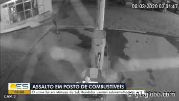 Criminosos usam submetralhadora para assaltar posto de combustível em Mimoso do Sul, ES - G1