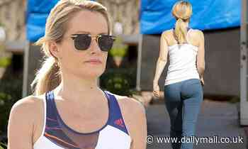 David Hasselhoff's wife Hayley Roberts, 40, flaunts her sporty figure on a morning jog in Calabasas - Daily Mail