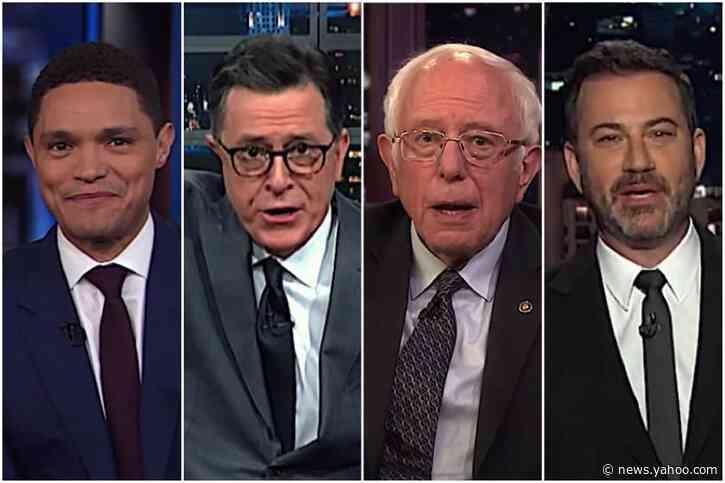 Stephen Colbert Trevor Noah Jimmy Kimmel And Bernie