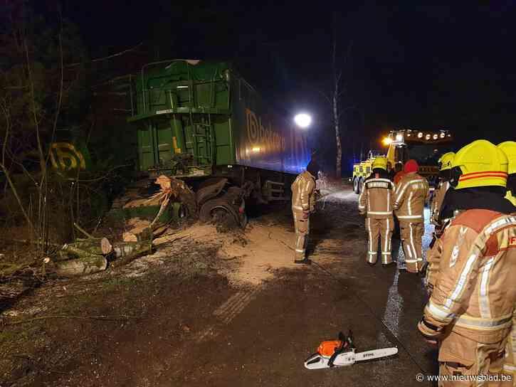 Vrachtwagen strandt in de berm
