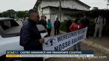 Protesto de funcionários deixa Castro sem ônibus do transporte coletivo - G1