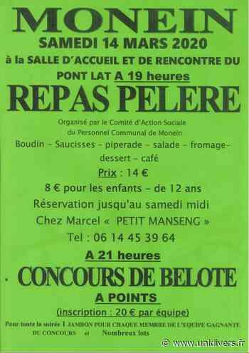 Repas et concours de belote Monein 14 mars 2020 - Unidivers