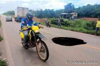 Cratera em asfalto na PA 481 coloca em risco tráfego entre Barcarena e Abaetetuba - REDEPARÁ