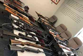 Manitoba RCMP seize 36 firearms from rural property near Treherne - Global News