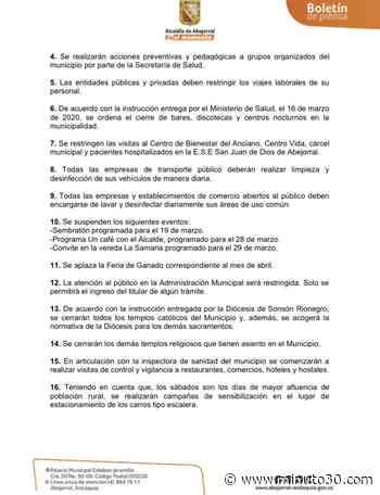 En fotos: Estas son las medidas adoptadas por el municipio de Abejorral para contrarrestar la pandemia del ... - Minuto30.com