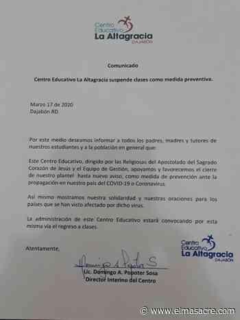 Colegio La Altagracia en Dajabón favorece suspensión docencia en centro - El Masacre