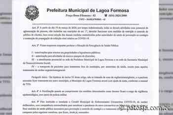 Prefeitura de Lagoa Formosa decreta suspensão de alvará para comércios no município - Patos Já