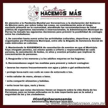 Parras de la Fuente cancela actividades culturales ante COVID 19 - El Siglo de Torreón
