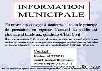 FLORENSAC - Les bureaux de la Mairie sont fermés - Hérault-Tribune