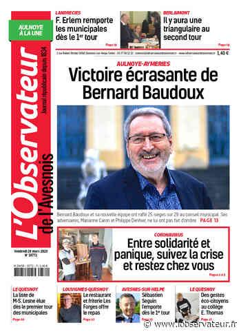 L'Observateur de l'Avesnois (édition Aulnoye-Aymeries) du 20 mars 2020 - L'Observateur