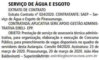 Concurso SAEP Pirassununga: publicado extrato de contrato da banca - Estratégia Concursos