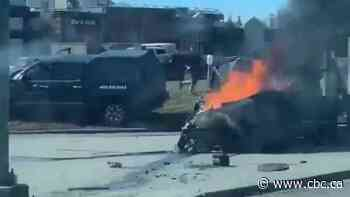 Vehicle erupts in flames in southwest Calgary collision that seriously injures 1 man - CBC.ca