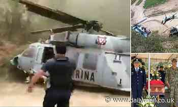 Shocking moment military helicopter crashes in Mexico, killing one police officer and