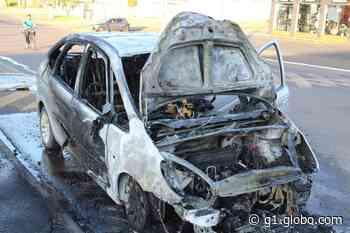 Carro de motorista cadeirante pega fogo em Guarapuava - G1