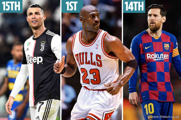 Fans vote for top 50 sport stars of all time with Michael Jordan top and Lionel Messi beating Cristiano Ronaldo