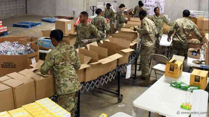 The National Guard assisting Baton Rouge food bank; packing emergency meals