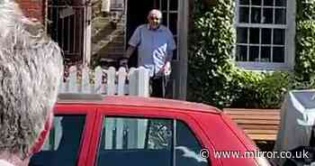 Pensioner, 92, who thought he'd spend birthday alone is surprised by neighbours