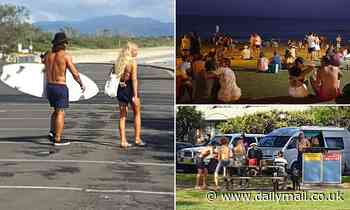 Byron Bay locals head to the beach - despite being slammed for ignoring social distancing rules