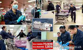 US Navy's hospital ship 'Mercy' as it prepares 1000 beds for non-coronavirus patients