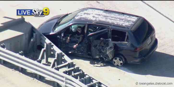 Pursuit Of Suspected DUI Driver Ends In Crash On 105 Freeway In South Los Angeles