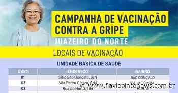 Prefeitura de Juazeiro divulga locais e horários de vacinação; postos atendem nesta quinta (26) e sexta-feira (27) - Flavio Pinto