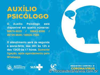Saúde Municipal de Registro disponibiliza WhatsApp para agendar o atendimento psicológico - Noticia de Cananéia