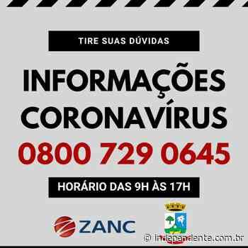Prefeitura de Taquari disponibiliza central de ligações 0800 para informações sobre o Coronavírus - independente