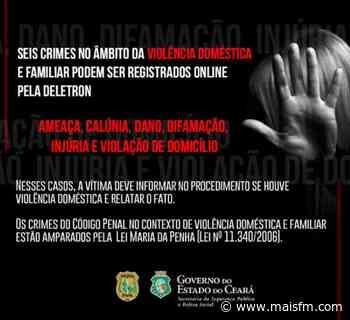 Seis crimes no âmbito da violência doméstica e familiar podem ser registrados online - MaisFM