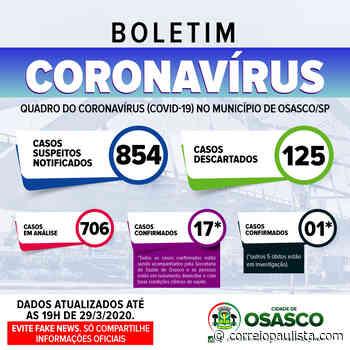 Osasco tem uma morte confirmada e 5 em investigação de Coronavírus - Correio Paulista