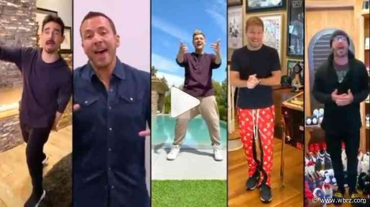 Backstreet's back from their living room to yours, the singers reunite to sing for charity